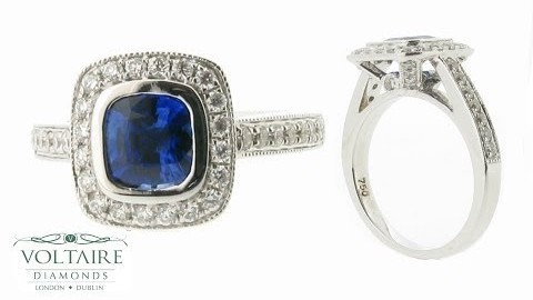 Cushion Cut Blue Sapphire Pave Set Halo with Diamond Detail ER 1012