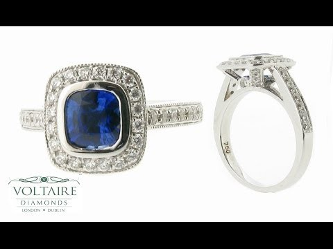 Cushion Cut Blue Sapphire Pave Set Halo with Diamond Detail ER 1012